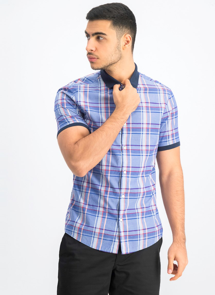 Men's Aaron Slim-Fit Stretch Plaid Shirt, Blue