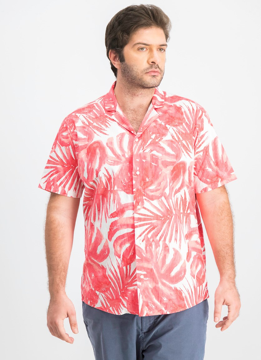Men's Botanical Short-Sleeve Slim Fit Shirt, Sea Coral