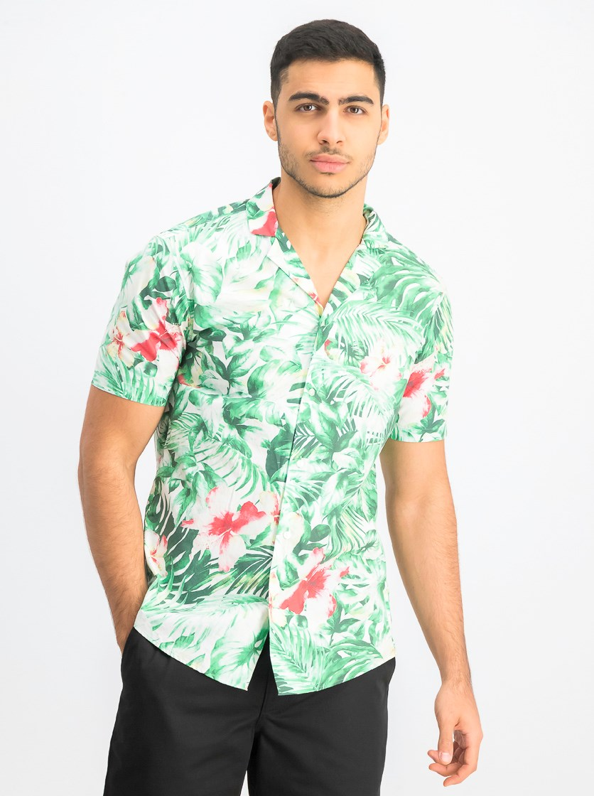 Men's Slim-Fit Jungle-Print Camp Shirt, Fern/White