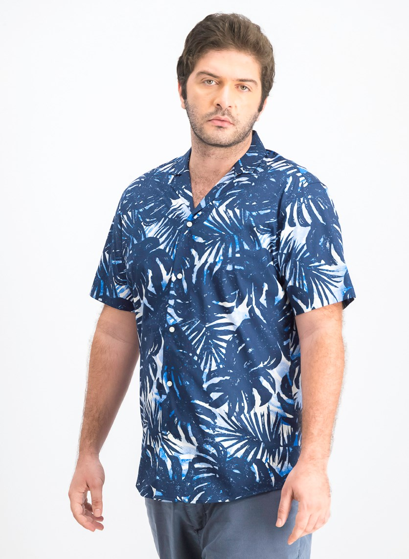 Men's Slim-Fit Stretch Palm-Print Camp Shirt, Blue