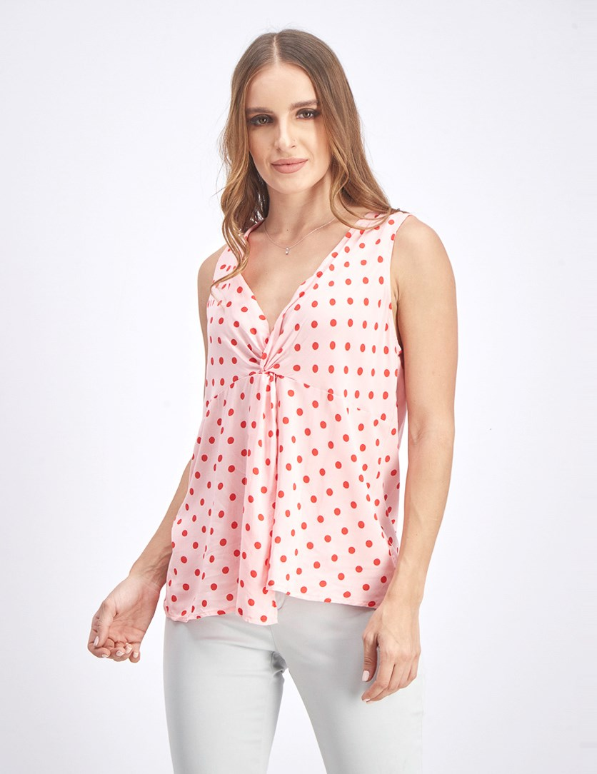 Women's Polka Dots Blouse, Pink/Red