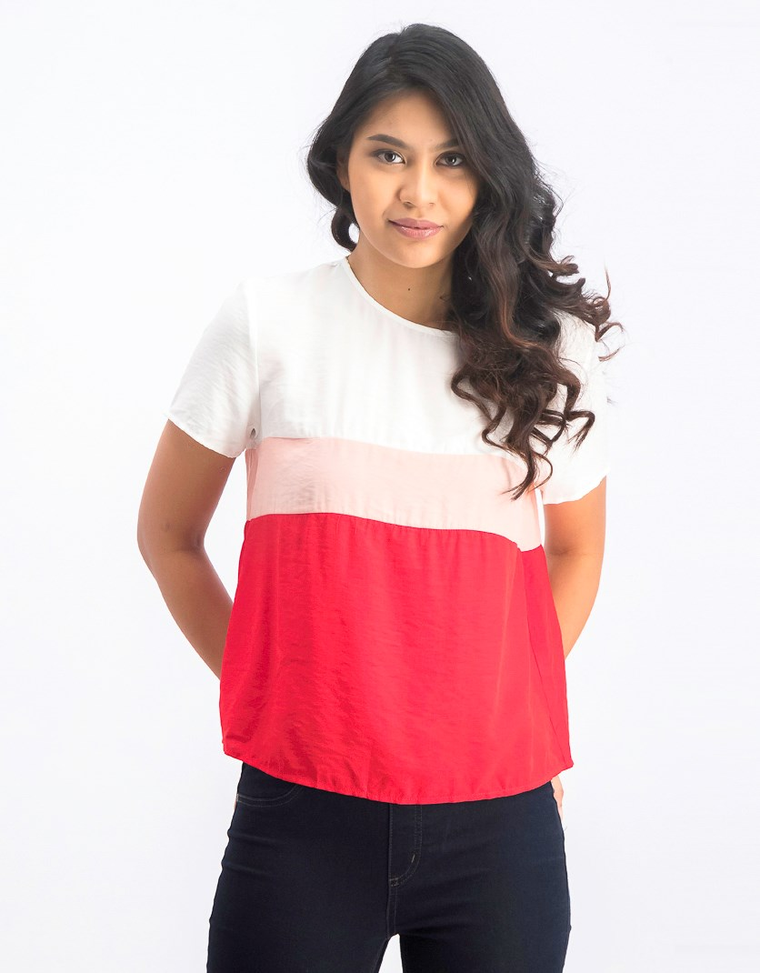 Women's Short Sleeve Top, White/Peach/Red