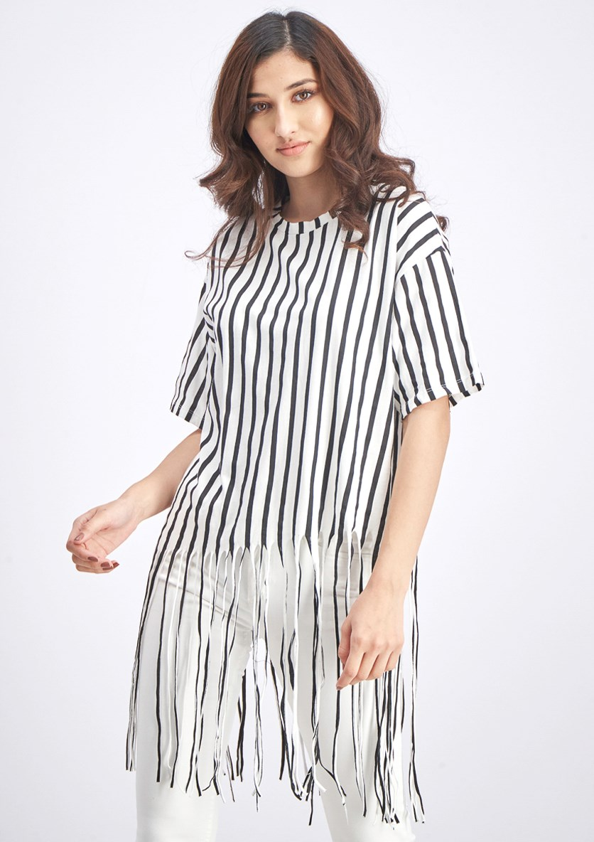 Women's Stripe Fringe T-shirt, Black/White