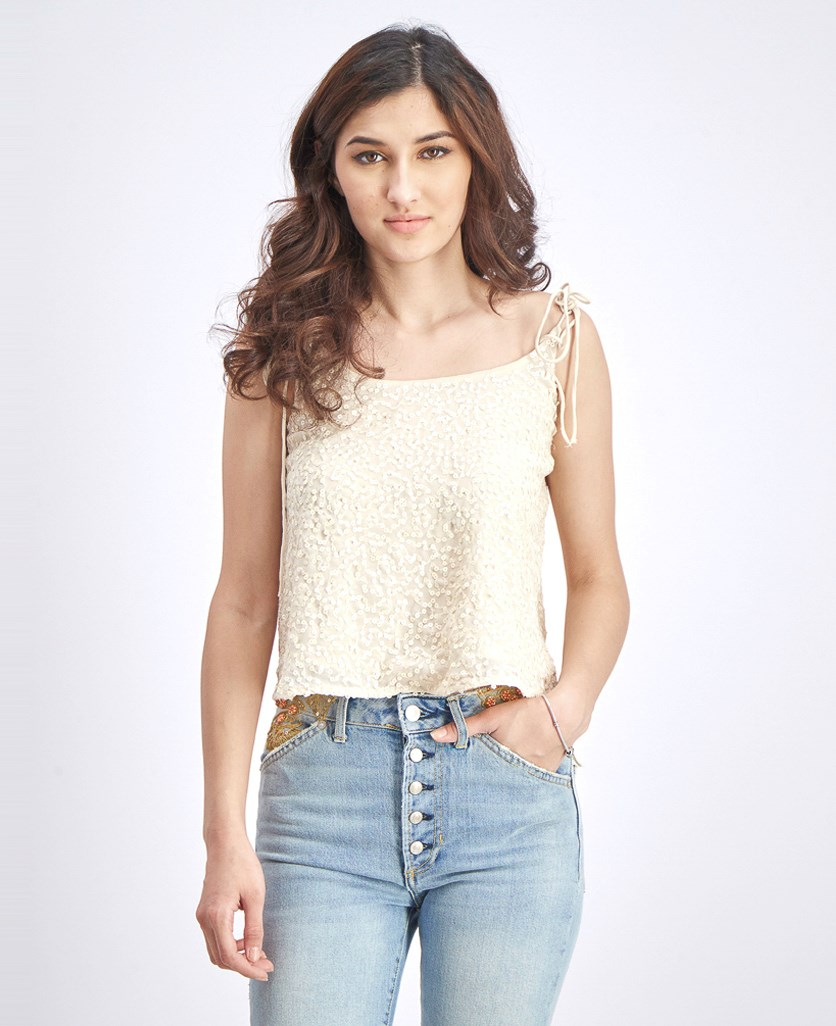 Women's Sequined Cropped Top, Nude