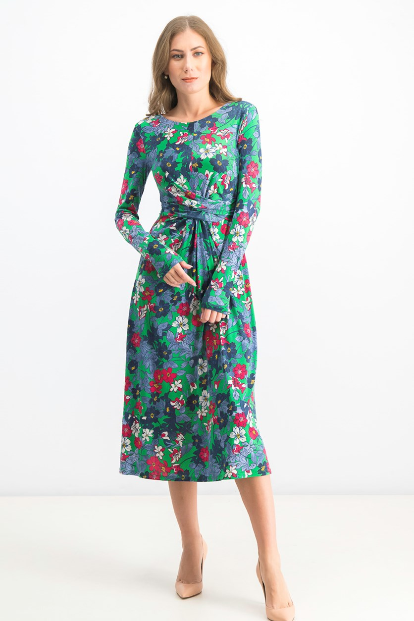 Women's Floral Long Sleeve Dress, Green Combo
