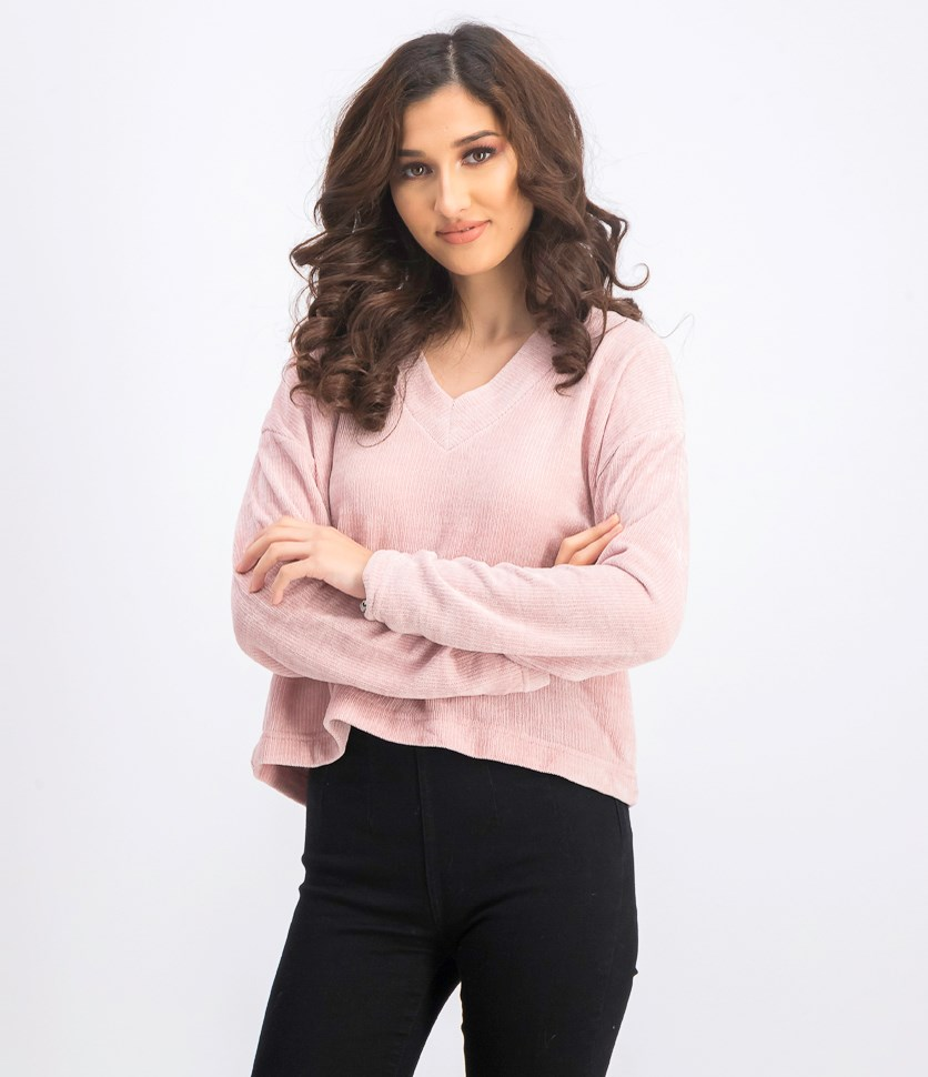 Women's V Neck Pullover Sweater, Pink