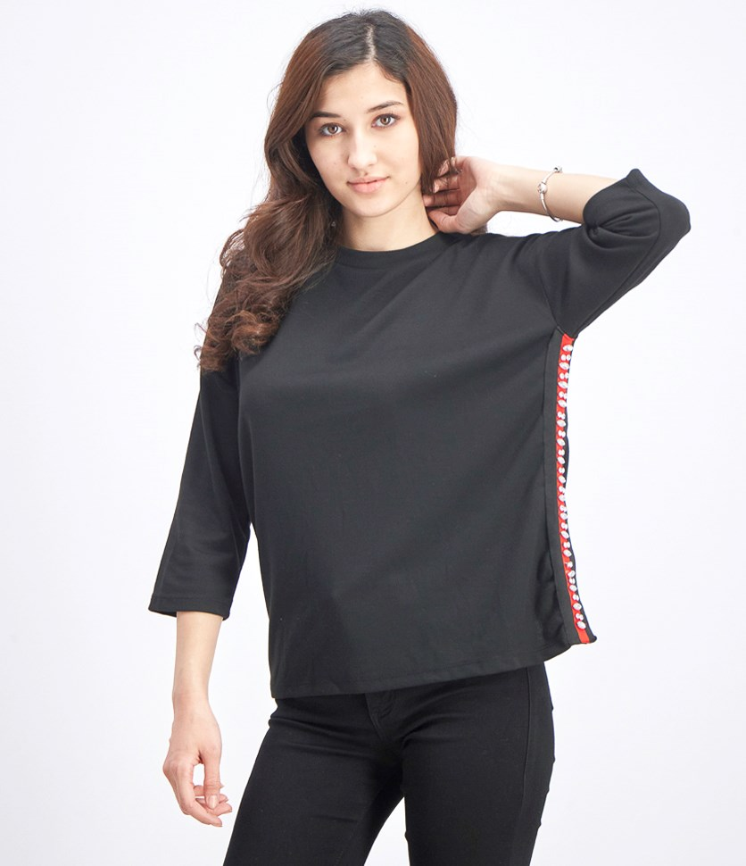 Women's Three Quarter Embellished Top, Black