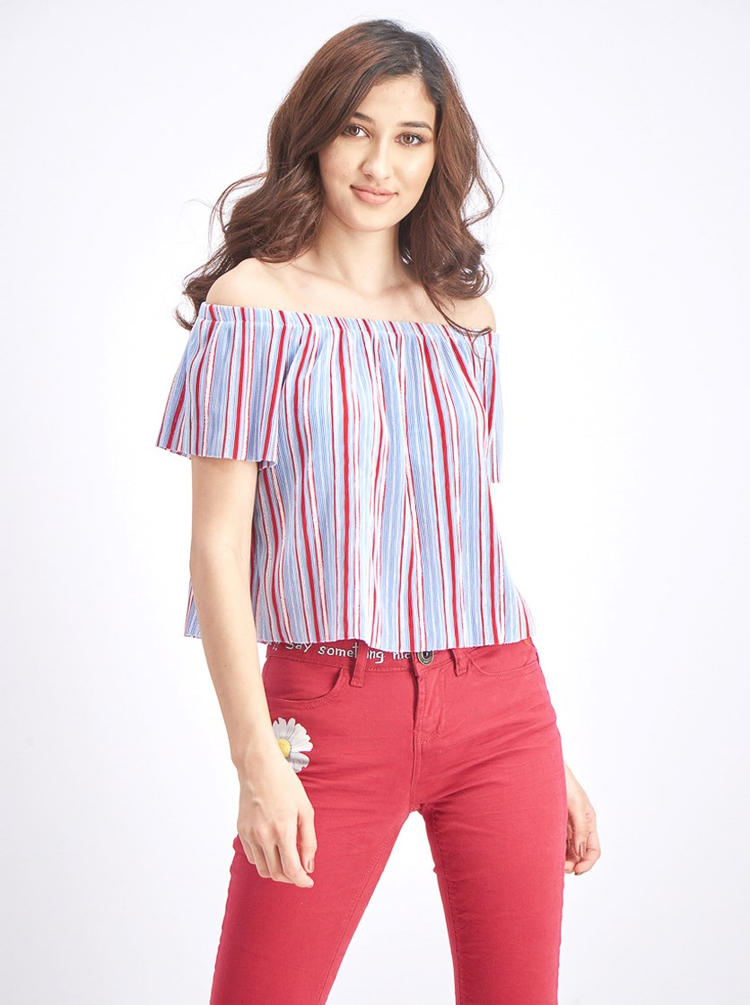 Women's Pleated Off-the-shoulder Top, Light Blue/Red