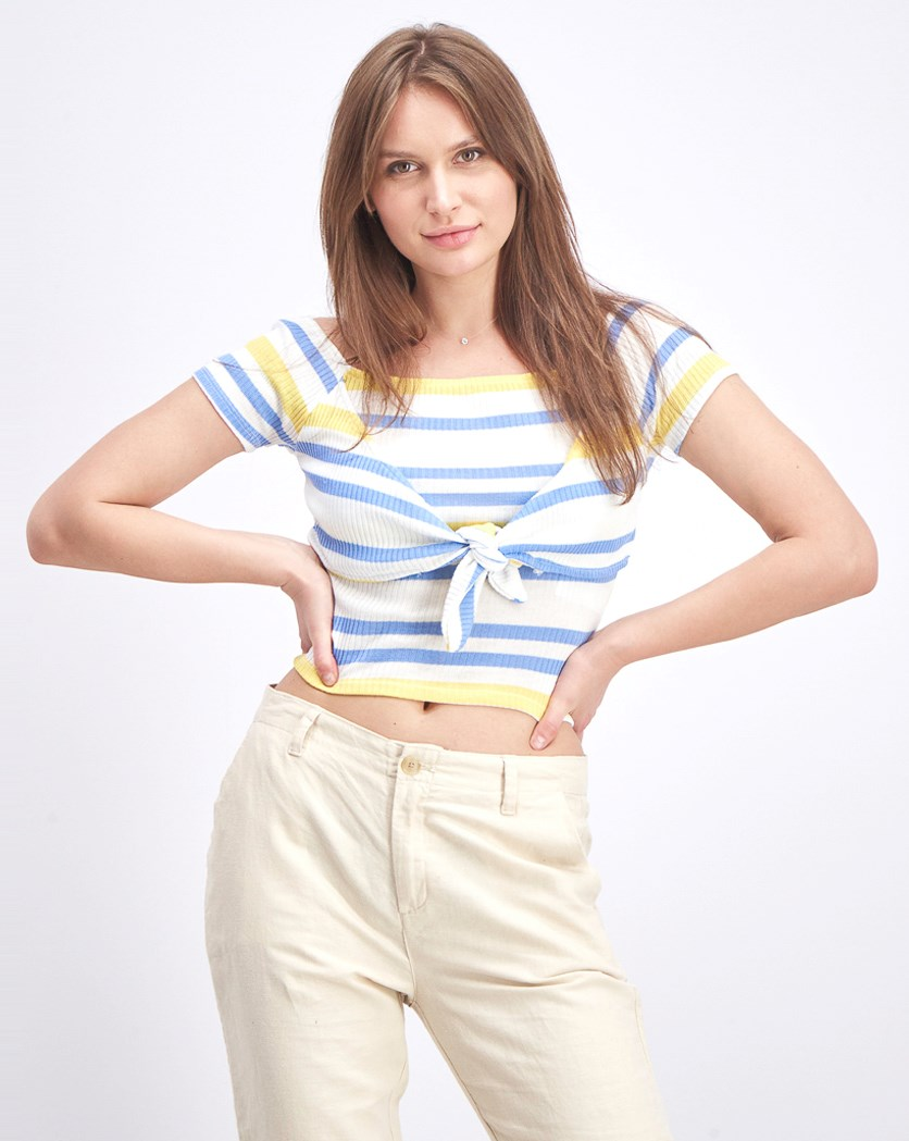 Women's Stripe Top, White/Blue/Yellow