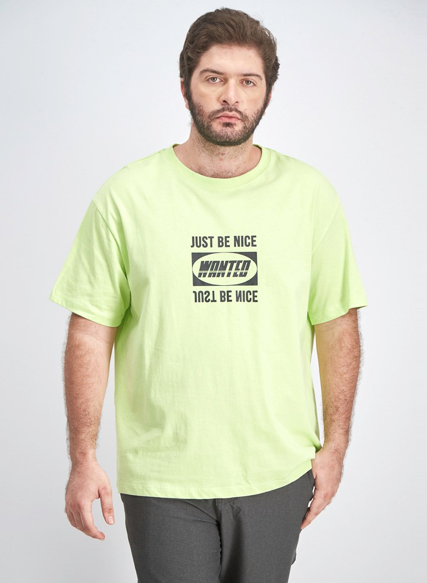 Men's Just Be Nice Printed T-Shirt, Lime Green