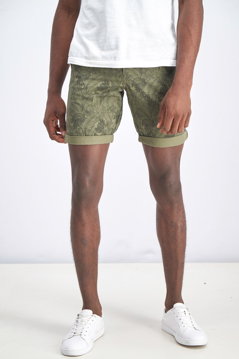 Men's Printed Belted Cotton Short, Olive