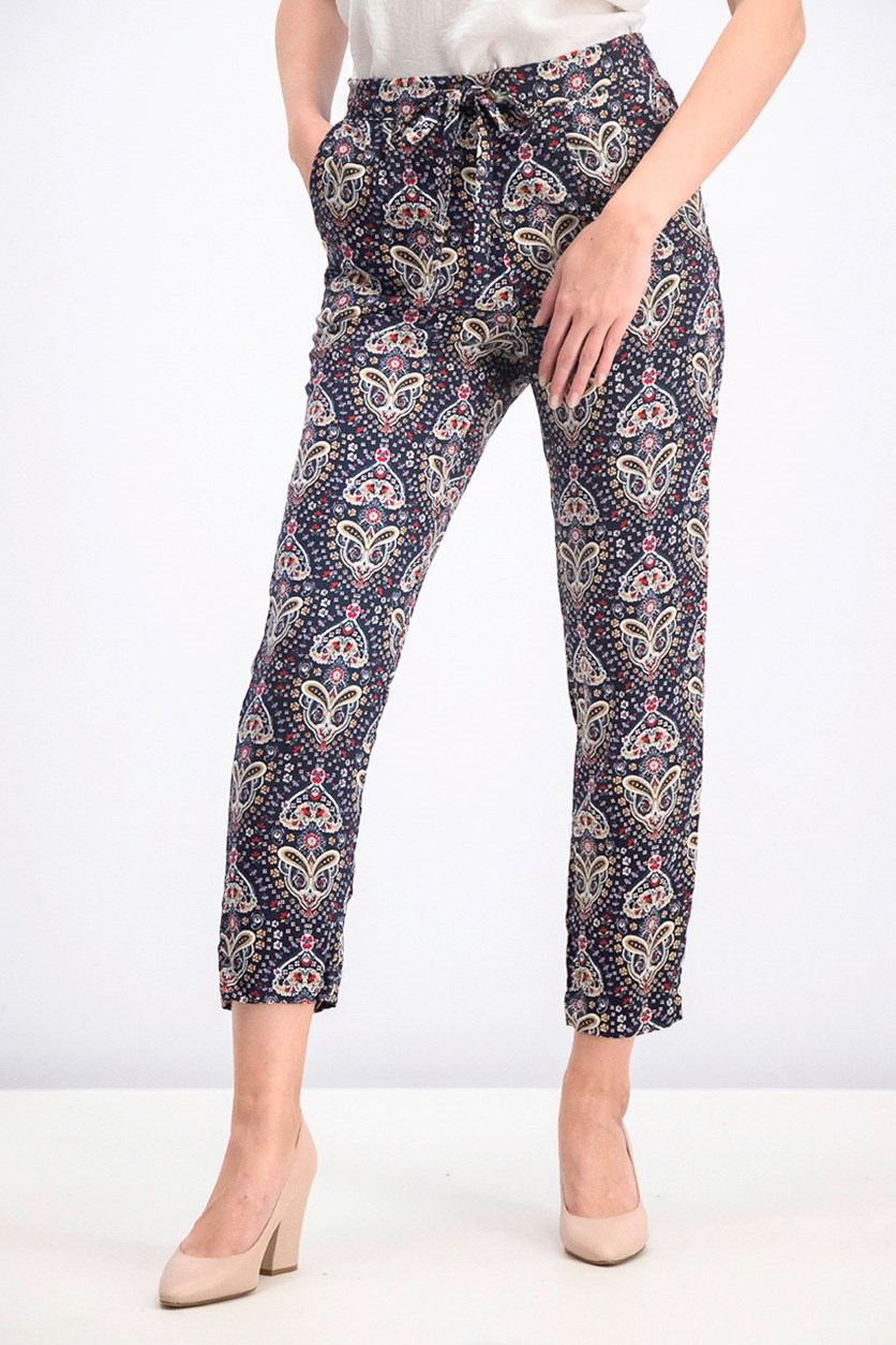 Women's Allover Print Pants, Black/Red/Yellow