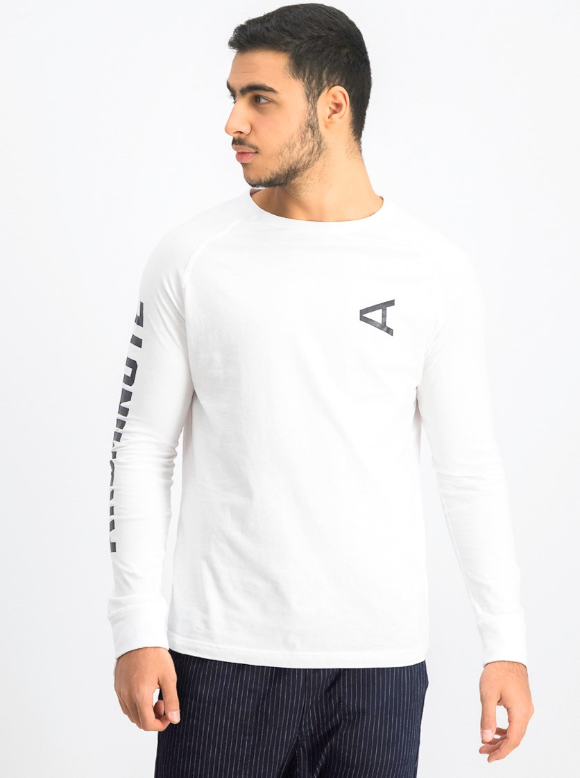 Men's Longsleeve T-Shirt, White/Black