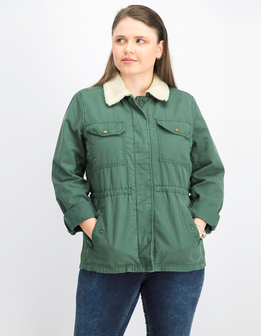 Women's Sherpa Lined Utility Jacket, Olive Green