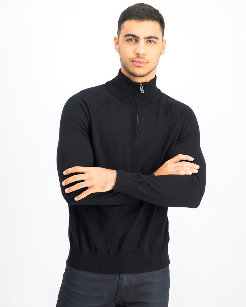 Men's Half Zip Pullover Sweater, Black