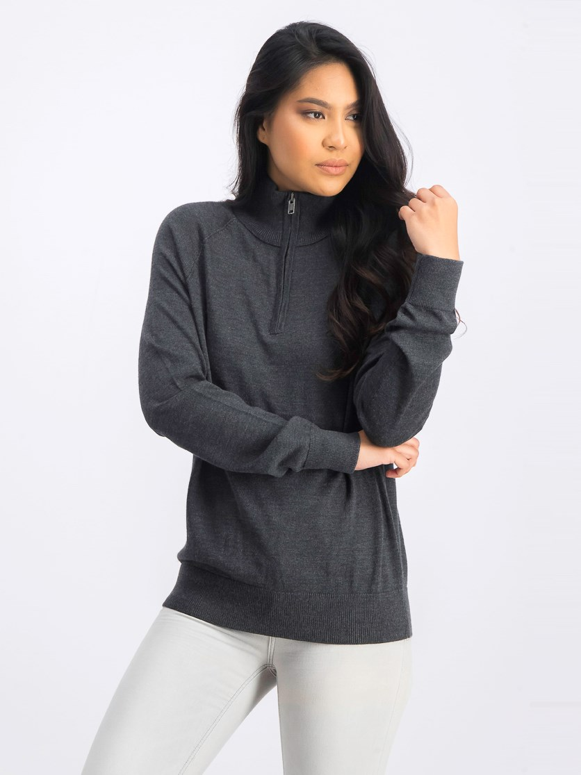 Women's Half Long Sleeve Sweater, Charcoal