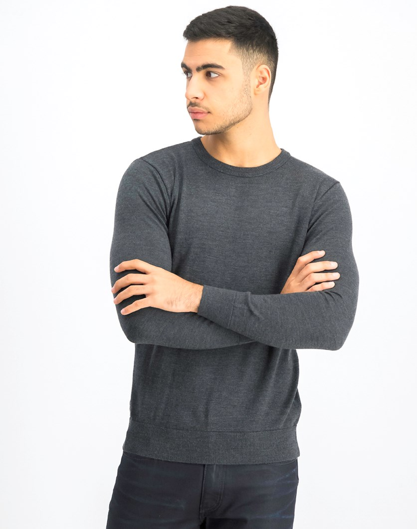 Men's Long Sleeve Plain Sweater, Charcoal