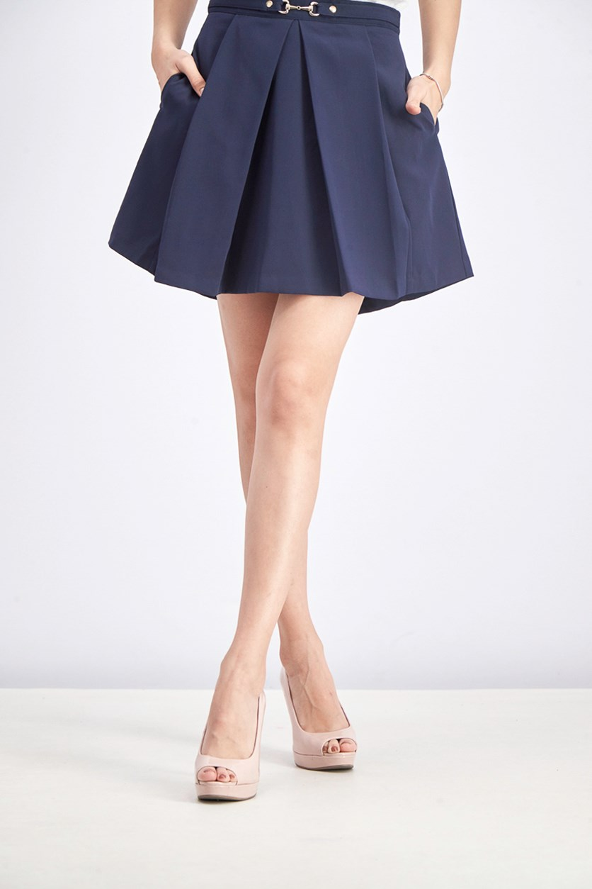 Women's Flared Pleated Skirt, Navy