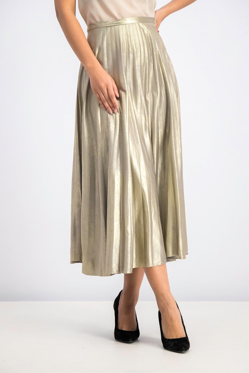 Women's Metallic Maxi Shirt, Silver/Gold