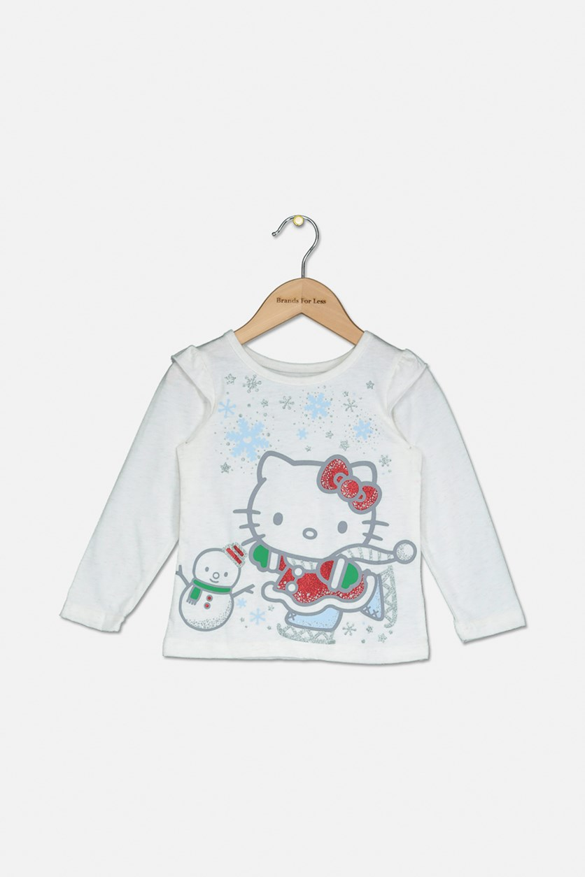 Toddler Girls Ice Skating T-Shirt, Off White