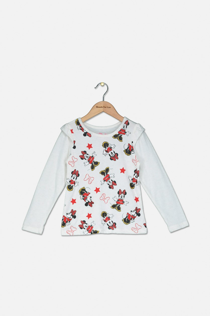 Girl's Mini Mouse Print Sweater, White