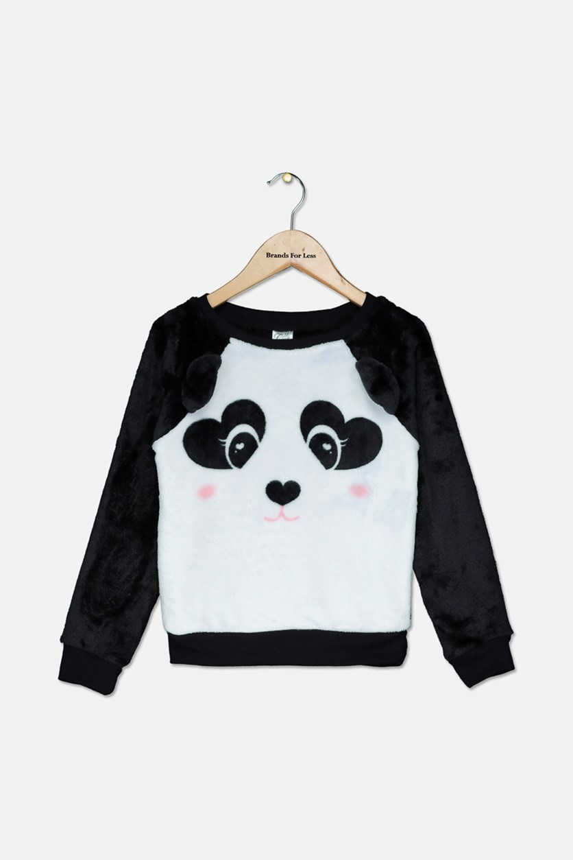 Girls Panda-Print Faux-Fur Sweater, Black/White