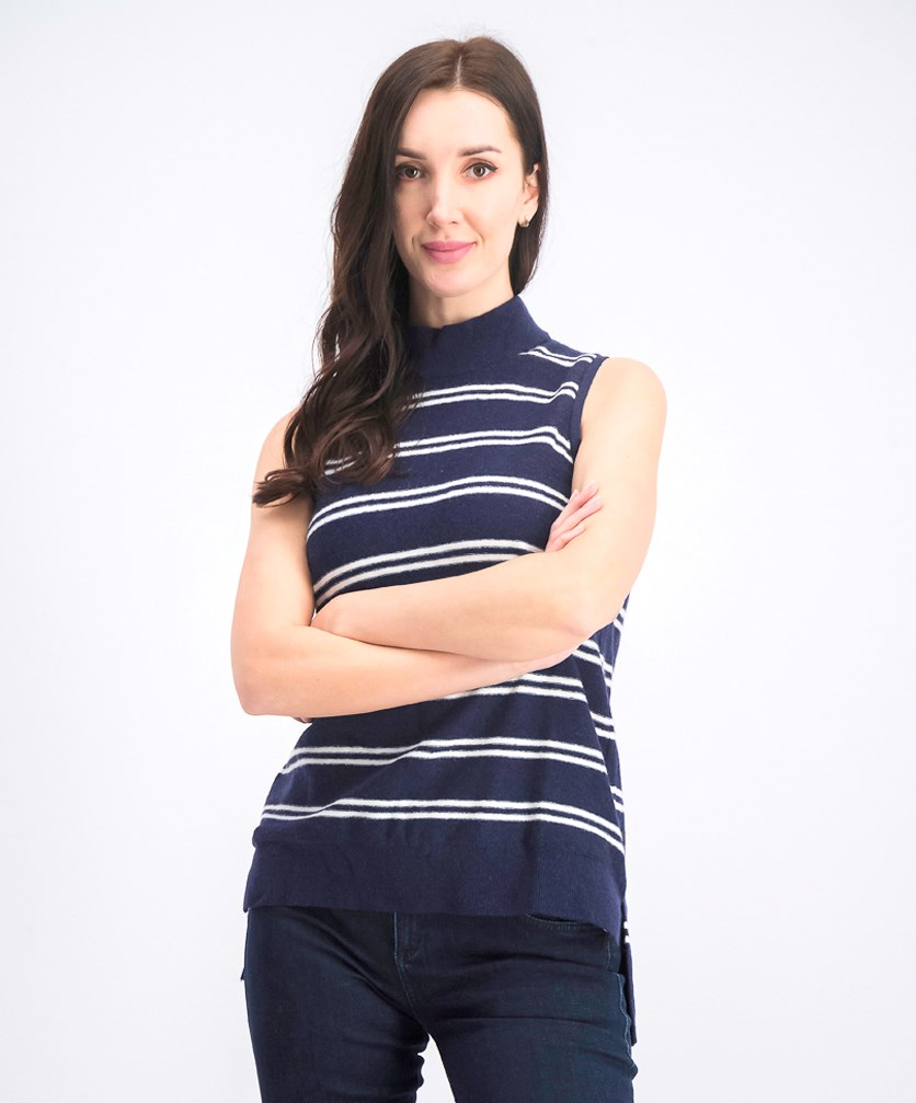 Women's Stripe Sleeveless Top, Navy/White