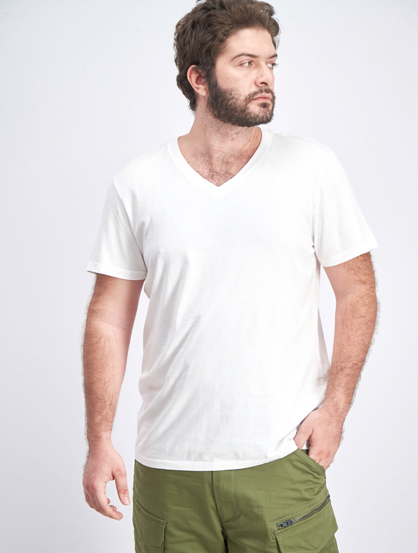 Men's V-Neck Tee, White