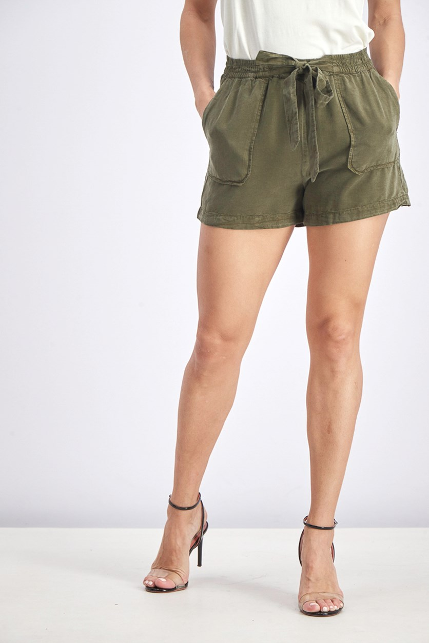 Women's Plain Tie Shorts, Dark Olive