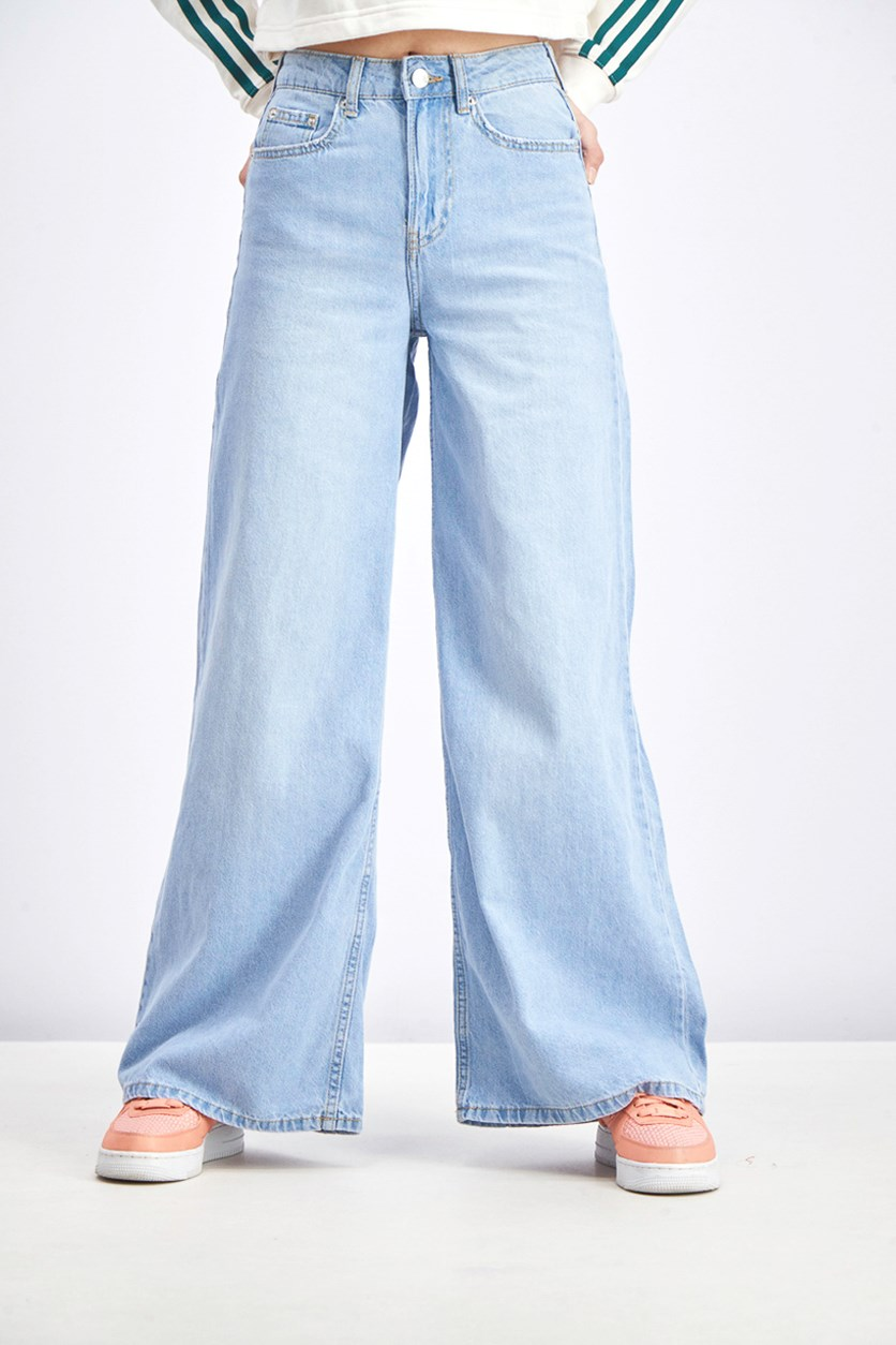 Women's High Waist Wide-Leg Jeans, Wash Blue