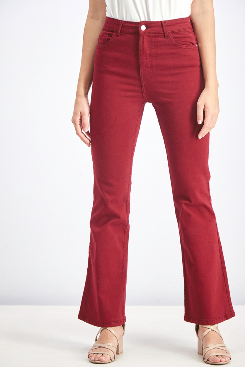 Women's Flared Hem High Waist Jeans, Burgundy