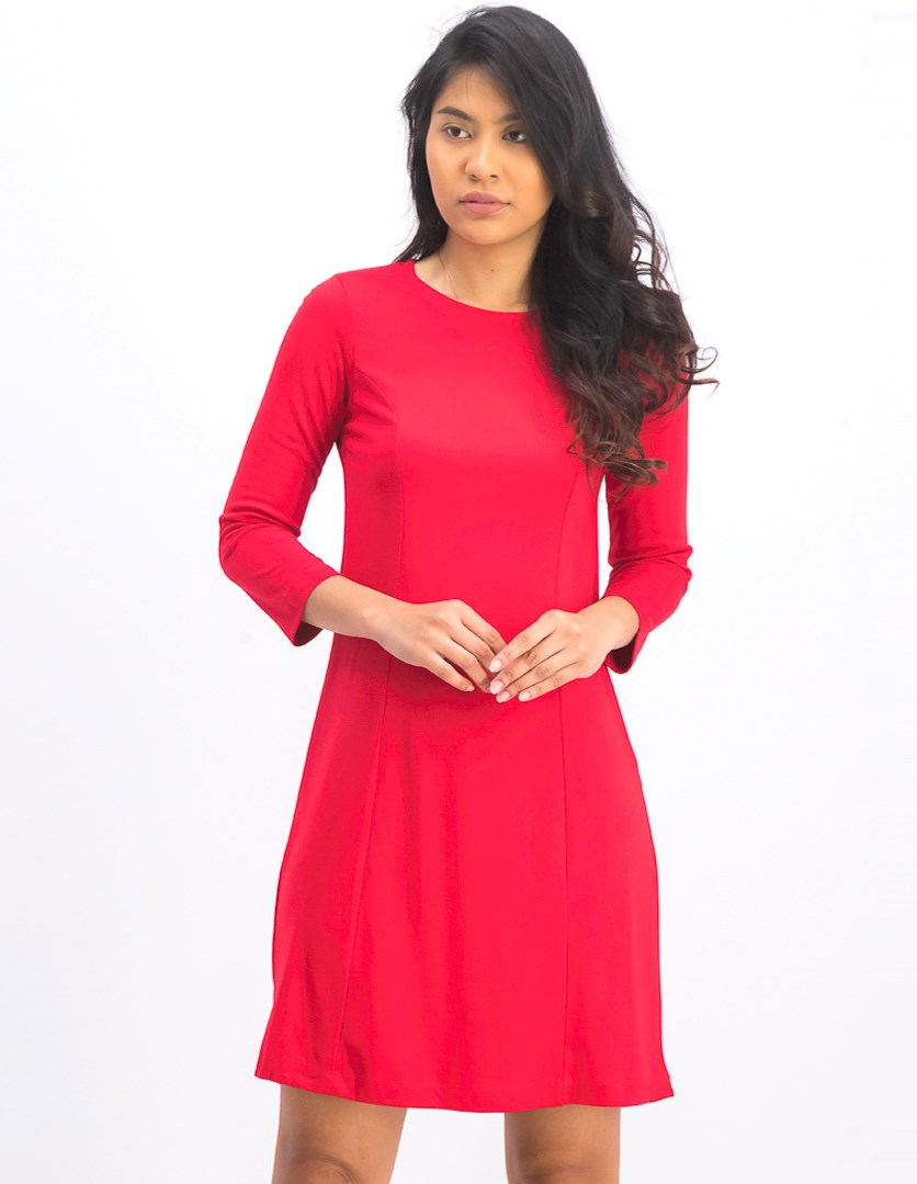 Women's Long Sleeve Shift Dress, Red