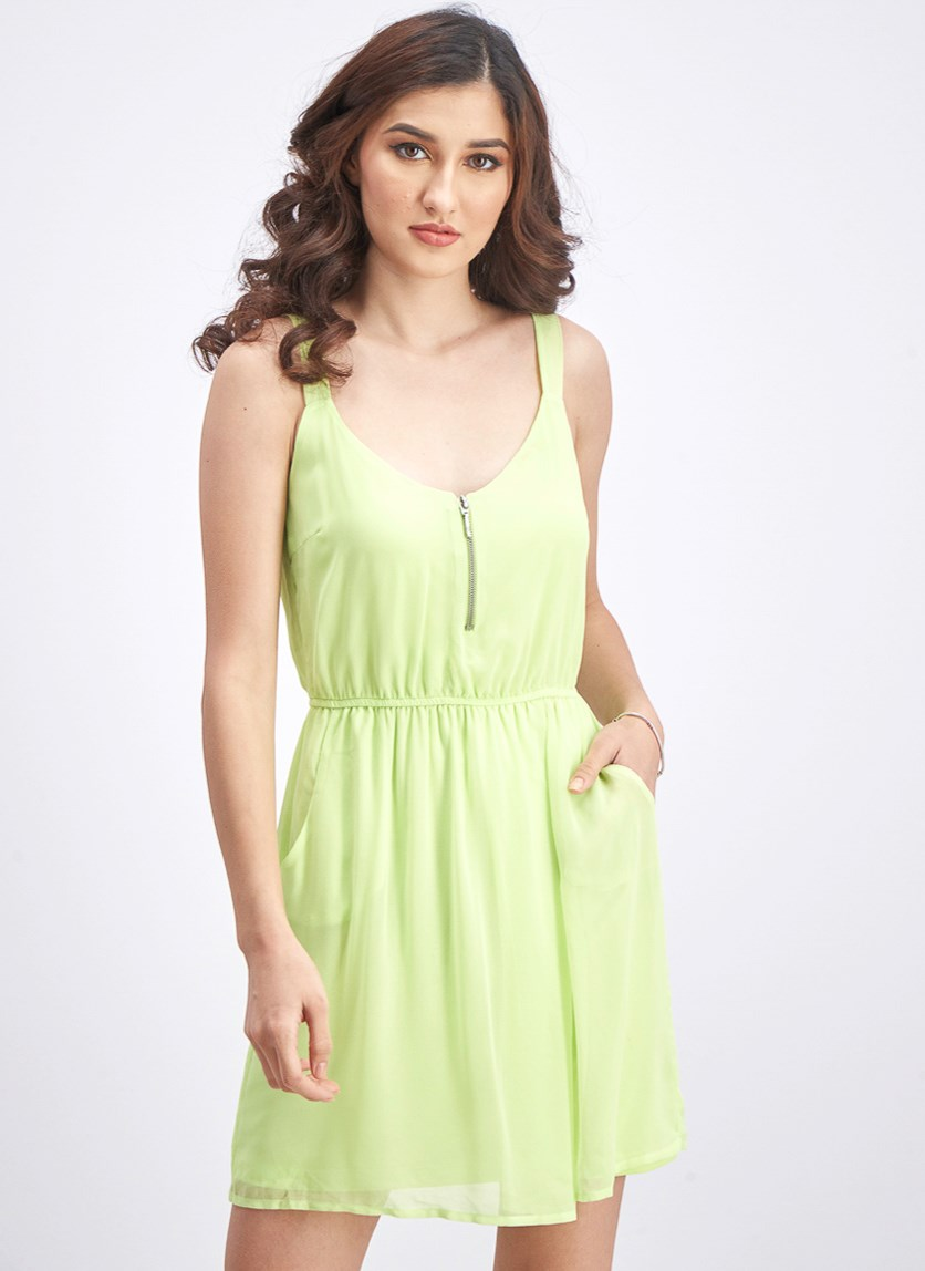 Women's Front Zipper Mini Dress, Lime Green