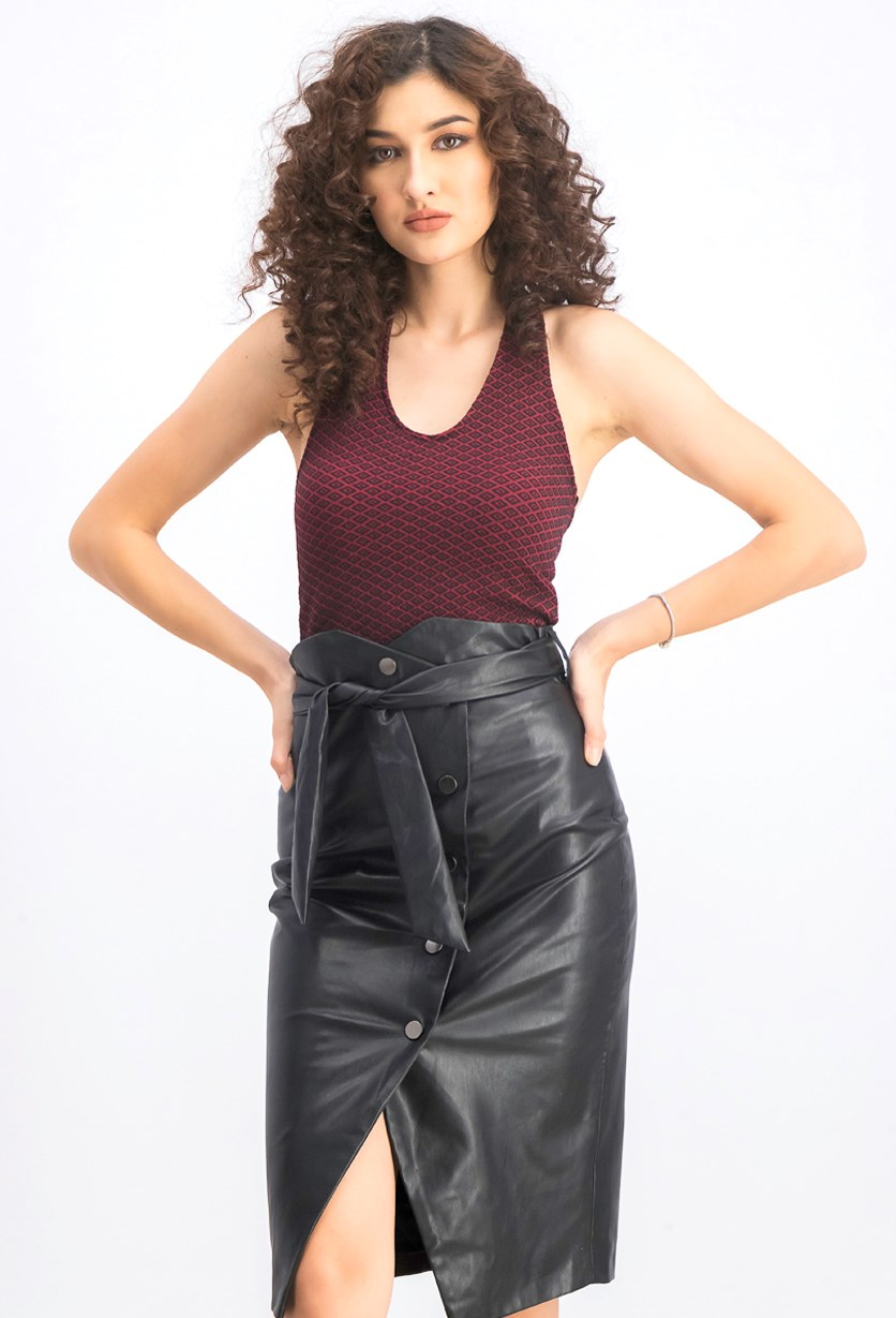 Women's Textured Cropped Top, Maroon/Black