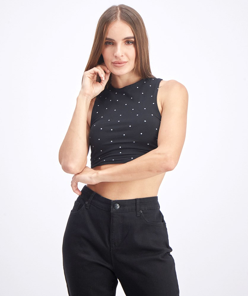 Women's Polka Dots Crop Top, Black
