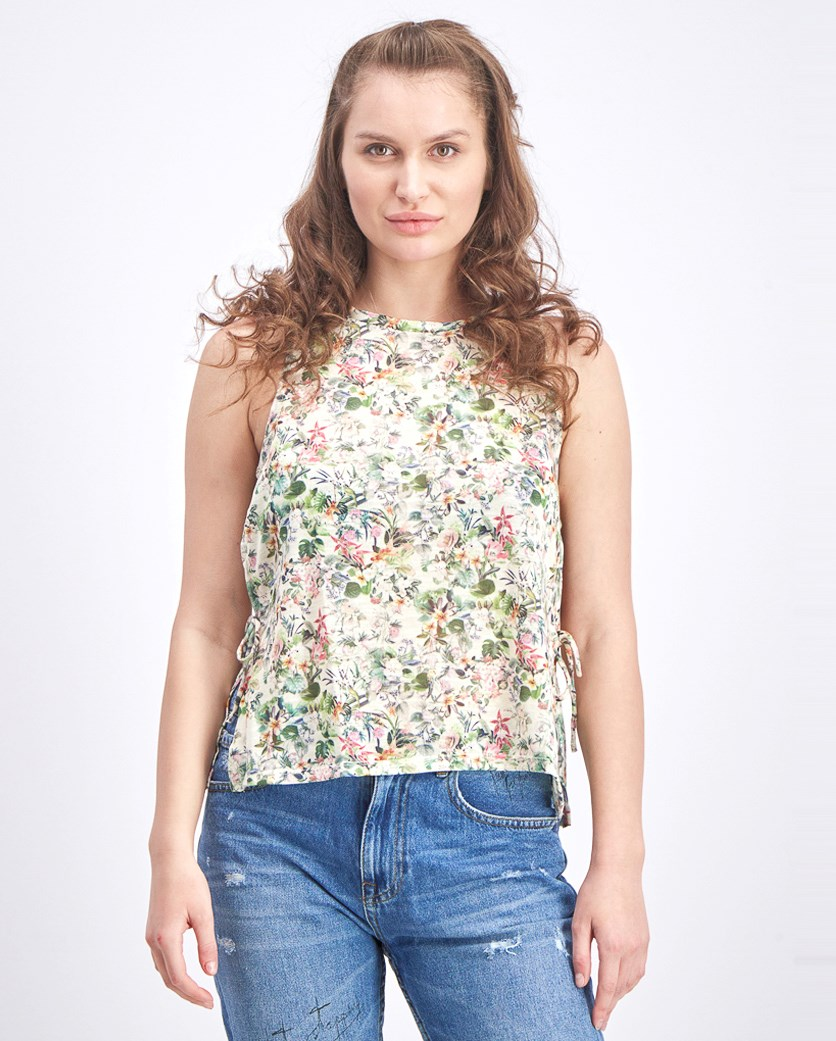 Women's Floral Open Side Slit with Tie Tank Top, Green/Cream
