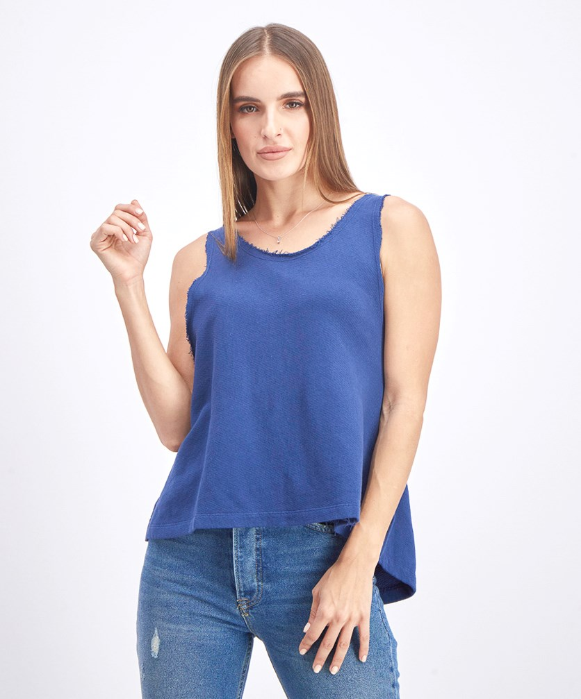 Women's Sleeveless Cropped Top, Blue