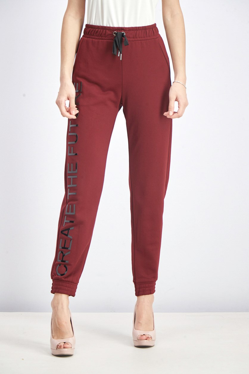 Women's Jogging Trousers With Slogan, Burgundy