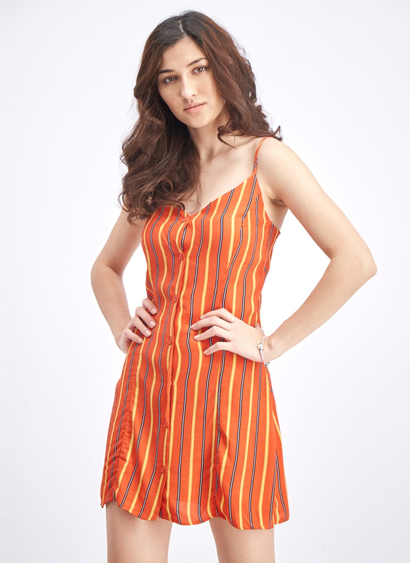 Women's Short Strappy Dress, Orange Stripe