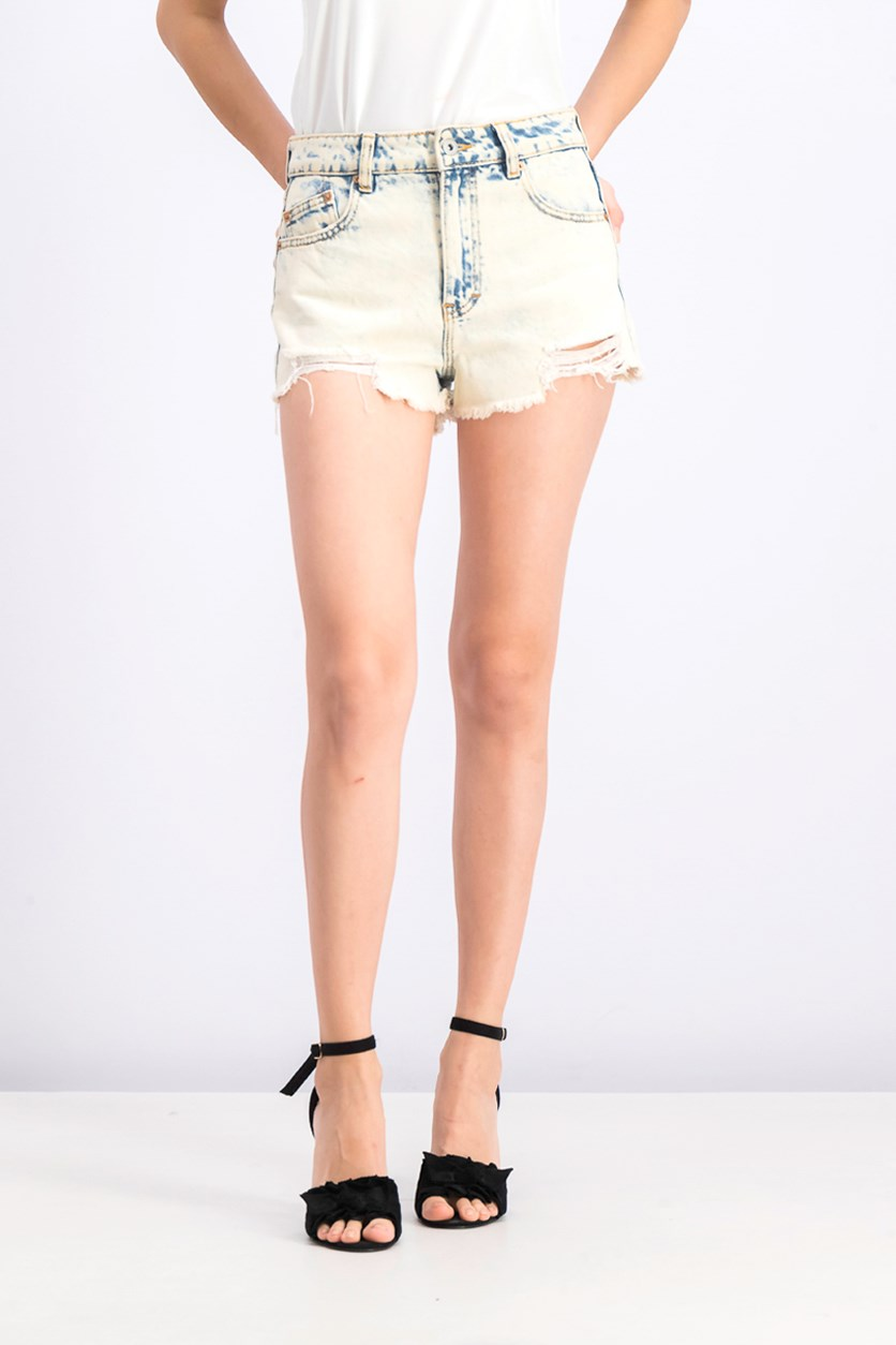 Women's Washed Short, Ivory/Navy
