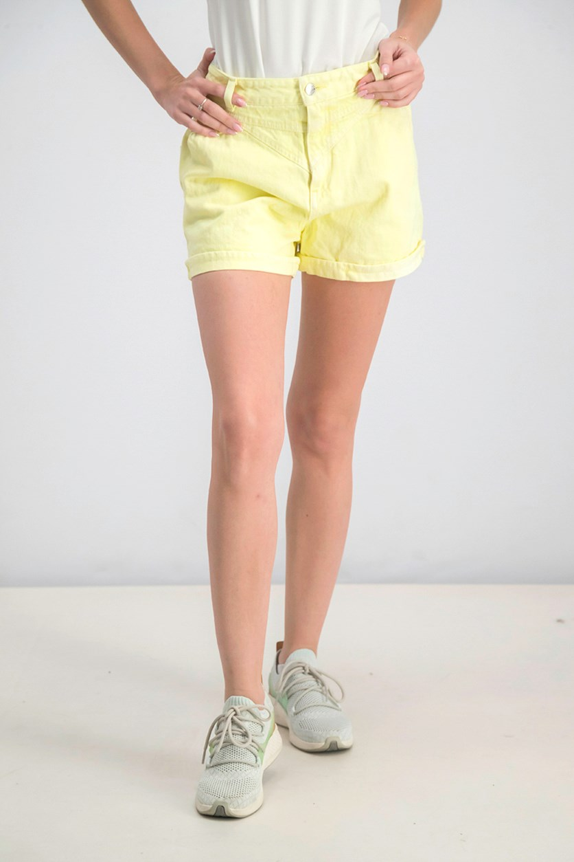 Women's High Waist Short, Yellow