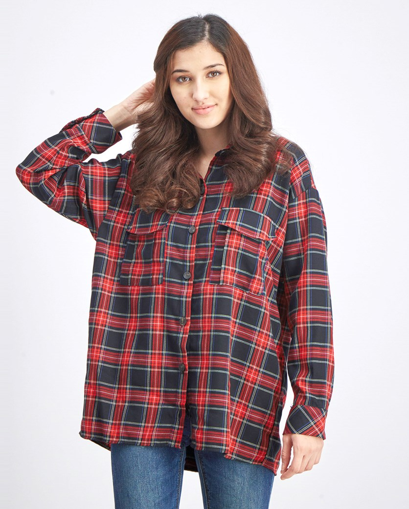 Women's Checked Shirt With Pocket, Red/Black Combo