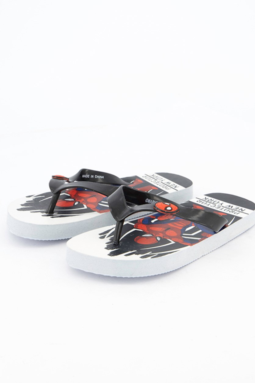 Kids Boys Spiderman Flipflops, White/Black