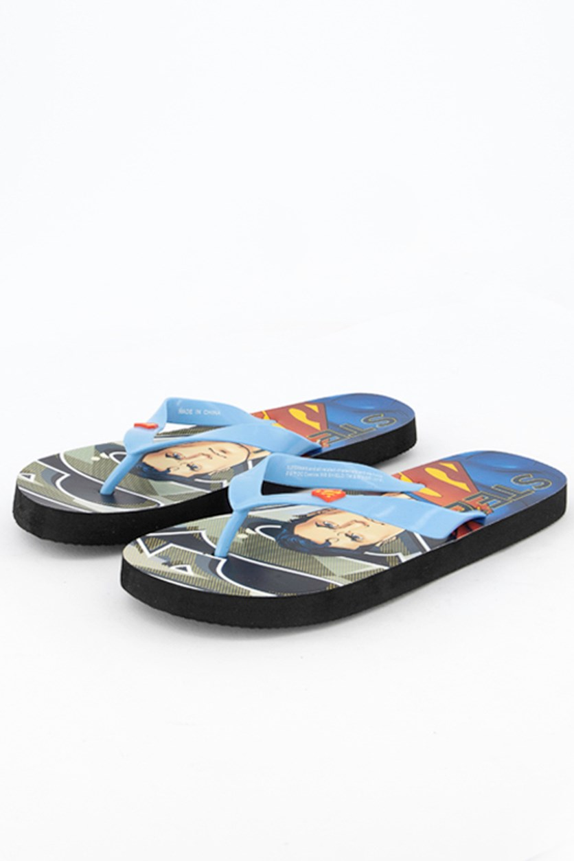 Kids Boys Superman Steel Flipflops, Blue