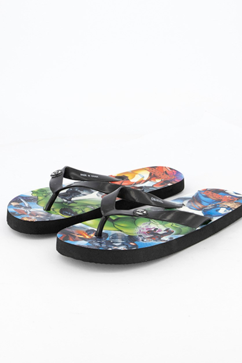 Kids Boys Avengers Flipflops, Black