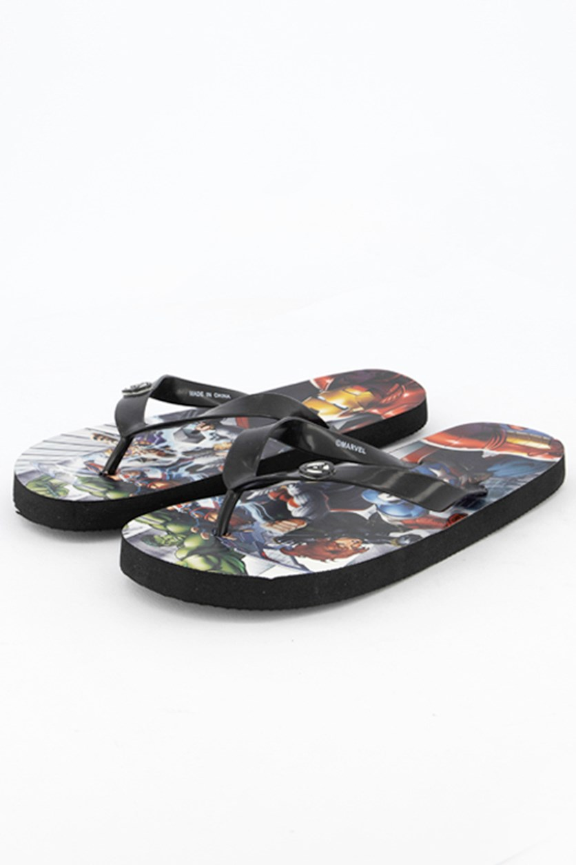Kids Boys Avengers Flipflops, Black Combo