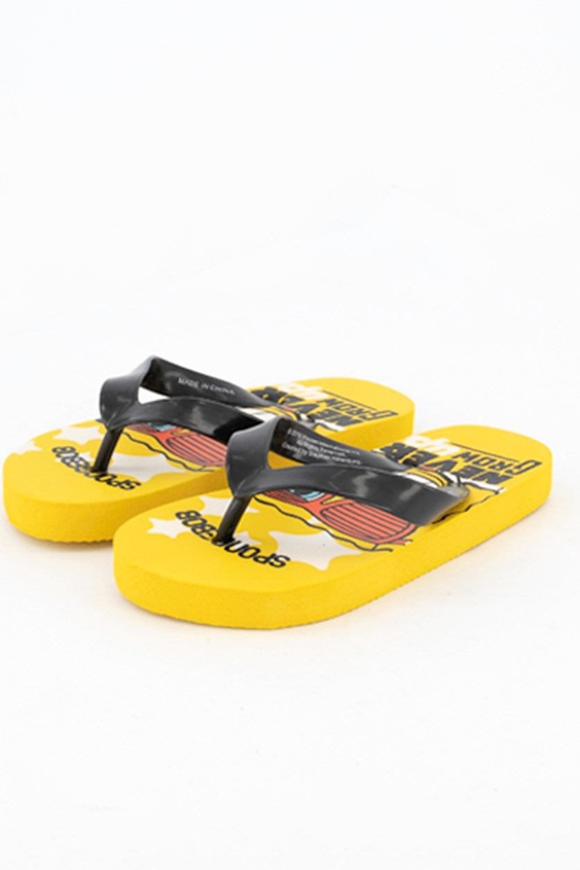 Toddlers Spongebob Never Grow Up Flipflops, Yellow