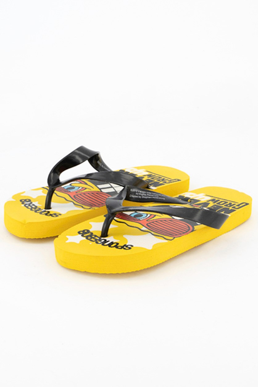 Unisex Spongebob Never Grow Up Flipflops, Yellow