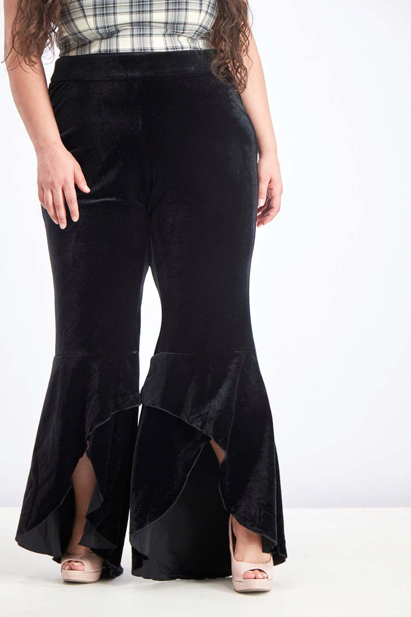 Women's Plus Velvet Wide Leg Pants, Black
