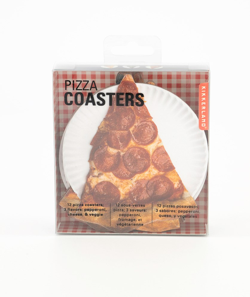 Pizza Coasters Set Of 12, White/Red